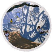 Girl On A Swing India Round Beach Towel by Andrew Macara