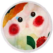 Girl With Ranunculus Round Beach Towel