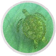 Gliding Green  Round Beach Towel