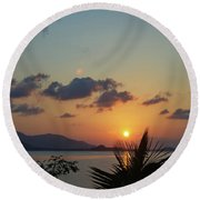 Glowing Horizon Round Beach Towel