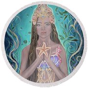 Goddess Of The Sea Round Beach Towel