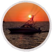 Going Fishing - Silhouette Round Beach Towel