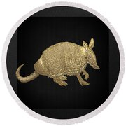 Gold Armadillo On Black Canvas Round Beach Towel