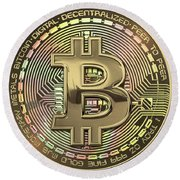 Gold Bitcoin Effigy Over Red Canvas Round Beach Towel