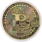 Gold Bitcoin Effigy Over White Leather Round Beach Towel