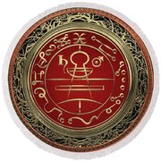Gold Seal Of Solomon - Lesser Key Of Solomon On Black Velvet  Round Beach Towel
