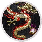 Golden Chinese Dragon Fucanglong  Round Beach Towel