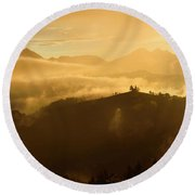 Golden Clouds And Fog At Sunrise In The Mountains Of Kamnik Savi Round Beach Towel