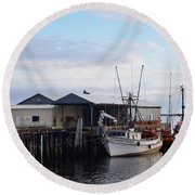 Golden Dolphin Eel Fishing Boat Port Angeles Washington Round Beach Towel
