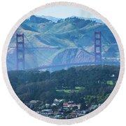 Golden Gate Bridge View From Twin Peaks San Francisco Round Beach Towel