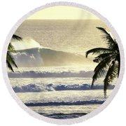 Golden Palms Round Beach Towel by Sean Davey