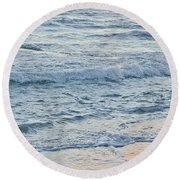 Golden Sunset And Ocean Horizon Round Beach Towel