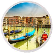 Gondolas In Venice - Italy  Round Beach Towel