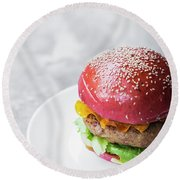 Gourmet Novelty Chicken Burger In Beetroot Bun Round Beach Towel