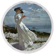 Grace Reading At Howth Bay Round Beach Towel by Sir William Orpen