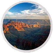 Grand Canyon National Park - Sunset On North Rim Round Beach Towel