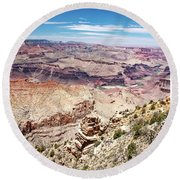 Grand Canyon View From The South Rim, Arizona Round Beach Towel