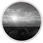 Grand Teton Hazy Sunset  Round Beach Towel