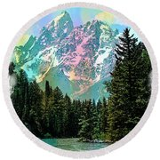 Grand Tetons From The Snake River Round Beach Towel