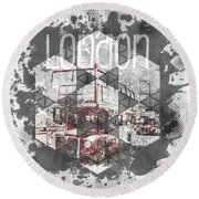 Graphic Art London Streetscene Round Beach Towel