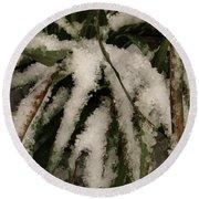 Grass In Snow 2 Round Beach Towel