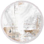 Gray Brown Abstract 12m3 Round Beach Towel