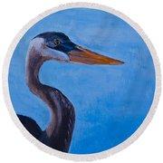 Great Blue Heron  Round Beach Towel