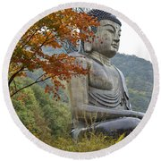 Great Buddha In Autumn Round Beach Towel
