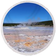 Great Fountain Geyser In Yellowstone National Park Round Beach Towel