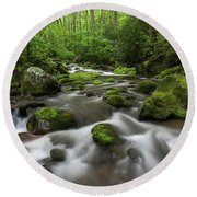 Great Smoky Mountains Roaring Fork Round Beach Towel