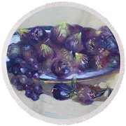 Greek Figs Round Beach Towel