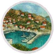 Greek Island Round Beach Towel