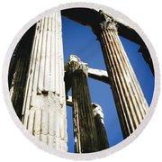 Greek Pillars Round Beach Towel