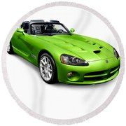 Green 2008 Dodge Viper Srt10 Roadster Round Beach Towel