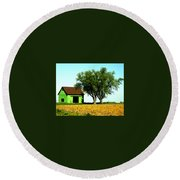 Green Barn  Round Beach Towel