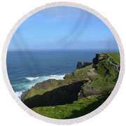 Green Grass On The Sea Cliff's In Ireland Round Beach Towel