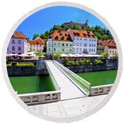 Green Ljubljana Riverfront Panoramic View Round Beach Towel