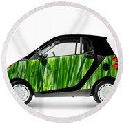 Green Mini Car Round Beach Towel