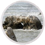 Grey Water At Window Rock Round Beach Towel