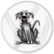 Grumpy Dog Round Beach Towel