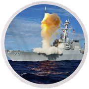 Guided Missile Destroyer Uss Hopper Round Beach Towel
