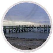 Gulf Beach Pier Round Beach Towel
