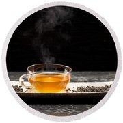 Gunpowder Green Tea In Glass Teapot Round Beach Towel