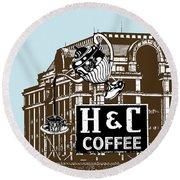 H And C Coffee Sign Roanoke Virginia Round Beach Towel