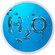 H2o Formula Made By Oxygen Bubbles In Water Round Beach Towel