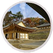 Haeinsa Buddhist Temple Round Beach Towel