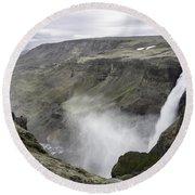 Haifoss Waterfall Iceland 1340 Round Beach Towel