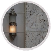 Half Lit Wall Sconce Round Beach Towel