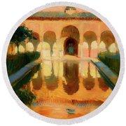 Hall Of The Ambassadors -  Alhambra Granada Round Beach Towel