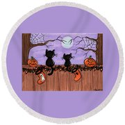Halloween Cats Fence Round Beach Towel